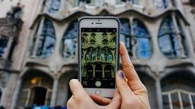 Uma imagem de uma imagem de uma construção de Gaudi imagens de stock