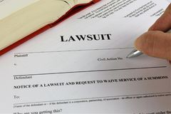 Uma imagem do conceito de um processo legal Fotografia de Stock