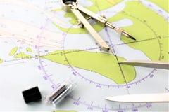 Uma imagem do conceito de um projeto náutico - trace, planeie fotografia de stock royalty free