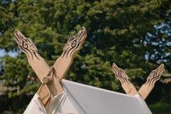 Uma imagem do detalhe da barraca do viking Foto de Stock