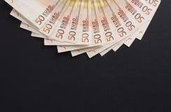 Uma imagem do fim-acima de 50 euro- cédulas do dinheiro Fotografia de Stock Royalty Free