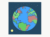 Uma imagem imóvel da vida da terra redonda do planeta com a lua brilhante redonda e as estrelas de brilho ilustração stock