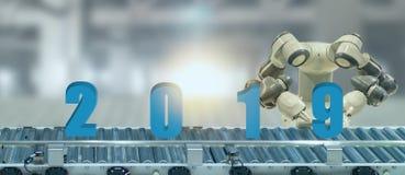 uma inteligência artificial de 2019 anos ou o conceito futurista do ai, o robô assistente tentam pôr o número de ano novo que vem fotos de stock royalty free