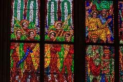 Uma janela do mosaico do vitral da igreja da religião Imagens de Stock