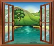 Uma janela perto do rio de fluxo ilustração do vetor