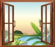 Uma janela que negligencia a ideia da natureza ilustração royalty free