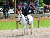 Uma jovem criança monta um cavalo na mostra do cavalo da caridade de Germantown Imagens de Stock