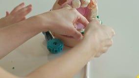 Uma jovem mulher e um molde da menina seus dentes do plasticine, introduzem seus dentes em uma maxila do brinquedo, cintas ajusta filme