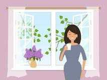 Uma jovem mulher está bebendo o café pela janela aberta ilustração do vetor