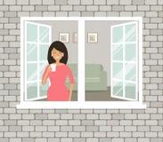 Uma jovem mulher no vestido vermelho está bebendo o café pela janela aberta ilustração royalty free