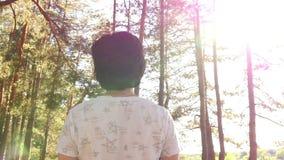 Uma jovem mulher nos olhares da floresta para o sol Vista traseira filme