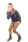Uma jovem mulher tem a diarreia Imagens de Stock Royalty Free