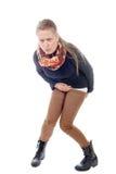 Uma jovem mulher tem a diarreia Fotografia de Stock Royalty Free