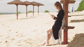 Uma jovem mulher usa uma tabuleta Conceito remoto do neg?cio vídeos de arquivo