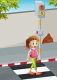 Uma jovem senhora na pista pedestre ilustração stock