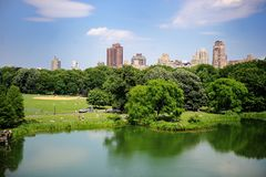 Uma lagoa em New York City Central Park no verão Imagem de Stock
