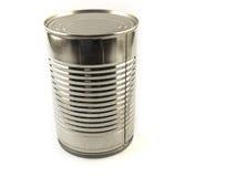 Uma lata de estanho brilhante do alimento no fundo branco foto de stock