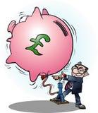 Uma libra inflada homem de negócios da economia Fotografia de Stock Royalty Free