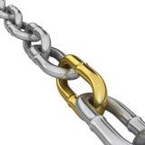 Uma ligação do ouro em uma corrente do cromo Fotografia de Stock Royalty Free