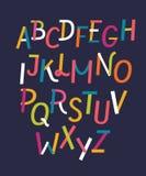 Uma linha colorida letras ajustadas Estilo de fonte, elementos do molde do projeto do vetor ilustração royalty free