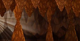 Uma luz do sol na caverna escura ilustração do vetor