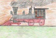 Uma máquina do vapor na estrada em um grupo de Sun Imagens de Stock