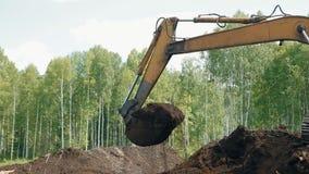 Uma máquina escavadora está carregando a terra com uma cubeta vídeos de arquivo