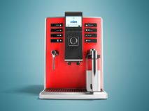 Uma máquina multifuncional moderna do café com parte dianteira vermelha 3d r do leite ilustração royalty free