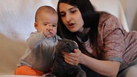 Uma mãe nova e sua criança sentam-se no sofá e pet o tiro do movimento lento do gato filme