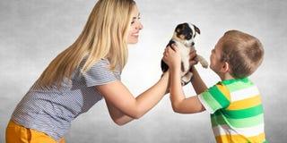 Uma mãe para apresentar a seu filho um cachorrinho Uma família para um cão desabrigado A realização do sonho de uma criança fotos de stock royalty free