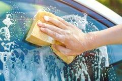Uma mão com uma esponja lava a janela Fotografia de Stock