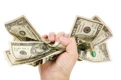 Uma mão completamente de dólares americanos Imagens de Stock Royalty Free