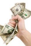 Uma mão completamente de dólares americanos Imagens de Stock