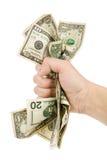 Uma mão completamente de dólares americanos fotos de stock royalty free