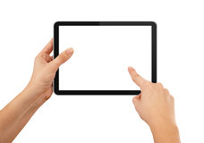 Uma mão masculina que prende um PC do touchpad Foto de Stock