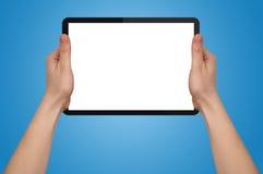 Uma mão masculina que prende um PC do touchpad Imagem de Stock Royalty Free
