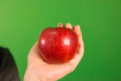 Uma mão que guarda uma maçã no estúdio verde da tela Foto de Stock