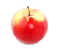 Uma maçã vermelha brilhante fresca, suculenta inteira, isolada em um fundo branco Maçã vermelha orgânica completamente de vitamin fotografia de stock