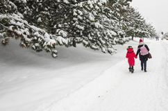 Uma mamã com sua filha está andando em casa imagens de stock