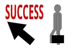 Uma maneira do ` s da pessoa ao sucesso com uma seta ascendente ilustração royalty free