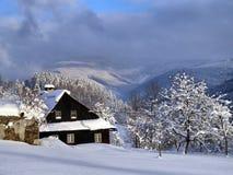 Uma manhã do inverno na vila Fotos de Stock Royalty Free