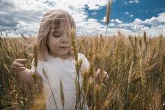 Uma menina agradável em um dia ensolarado do verão está em um campo de trigo Foto de Stock