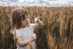 Uma menina agradável em um dia ensolarado do verão está em um campo de trigo Imagem de Stock