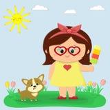 Uma menina agradável em um vestido amarelo e em vidros está guardando o gelado Ao lado dele senta um Corgi do cachorrinho Clareir ilustração do vetor