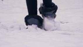 Uma menina anda com o close-up coberto de neve do parque filme