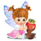 Uma menina animado feliz pequena com as asas feericamente que guardam uma morango deliciosa mergulhou no chocolate isolado no bra ilustração do vetor