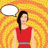 Uma menina ao estilo do pop art com uma bolha do discurso ilustração royalty free