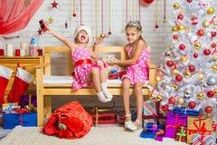 Uma menina aprecia o presente, a outra menina que afaga um gato em uma atmosfera confortável do ano novo Fotografia de Stock