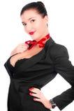 Uma menina bonita com um peito grande isolado Foto de Stock Royalty Free