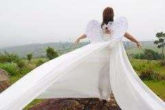 Uma menina bonita do vôo do anjo imagens de stock